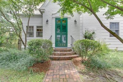 Norfolk Single Family Home New Listing: 1205 Spotswood Ave
