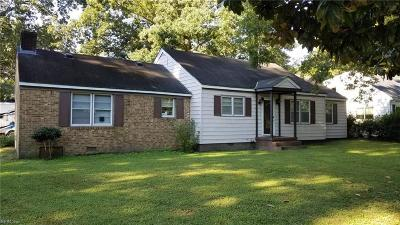 Suffolk Single Family Home New Listing: 1037 Bracey Dr