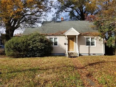 Norfolk VA Single Family Home New Listing: $110,000