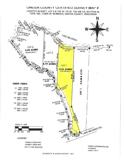Rhinelander Residential Lots & Land Active Under Contract: Lot 1 Lake Mildred Rd