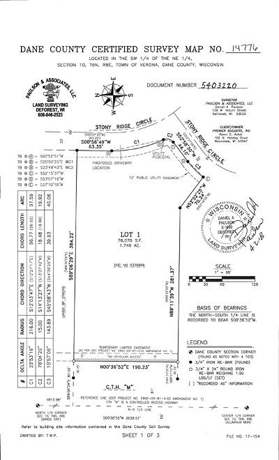 Verona Residential Lots & Land For Sale: 1.74 Ac Stony Ridge Cir