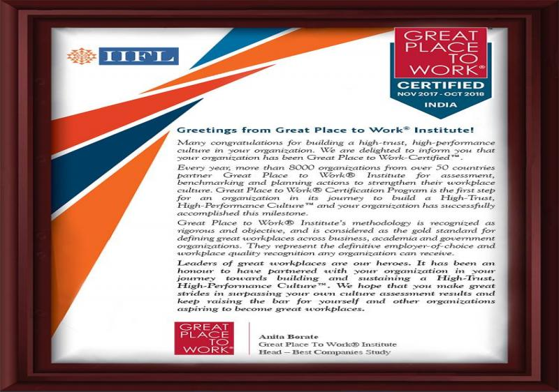 IIFL receives the prestigious 'Great Place to Work' certification