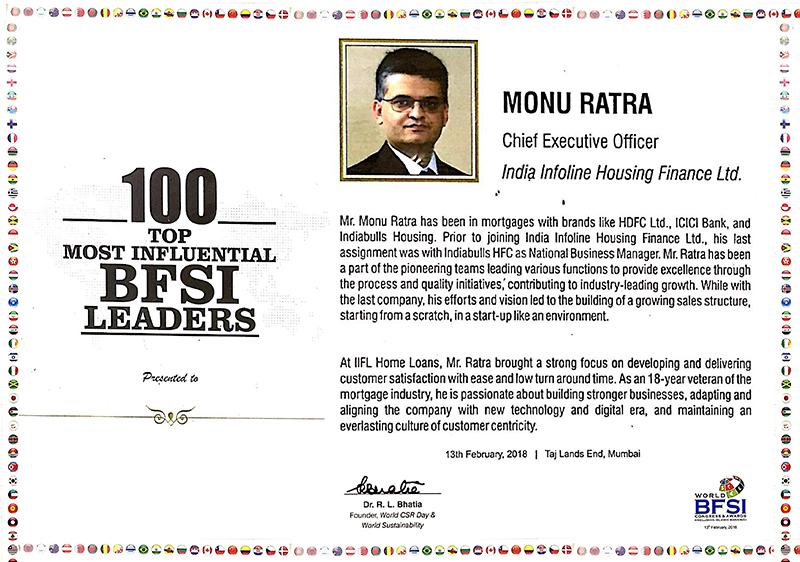 Mr. Monu Ratra recognised as '100 Top Most Influential BFSI Leaders' by World BFSI Congress