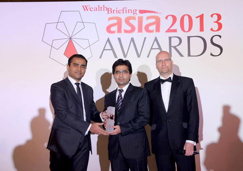 Aditya Gadge from the Association of International Wealth Management India, Arun Chopra from IIFL Wealth Management Ltd and Stephen Harris from Wealth Briefing Asia