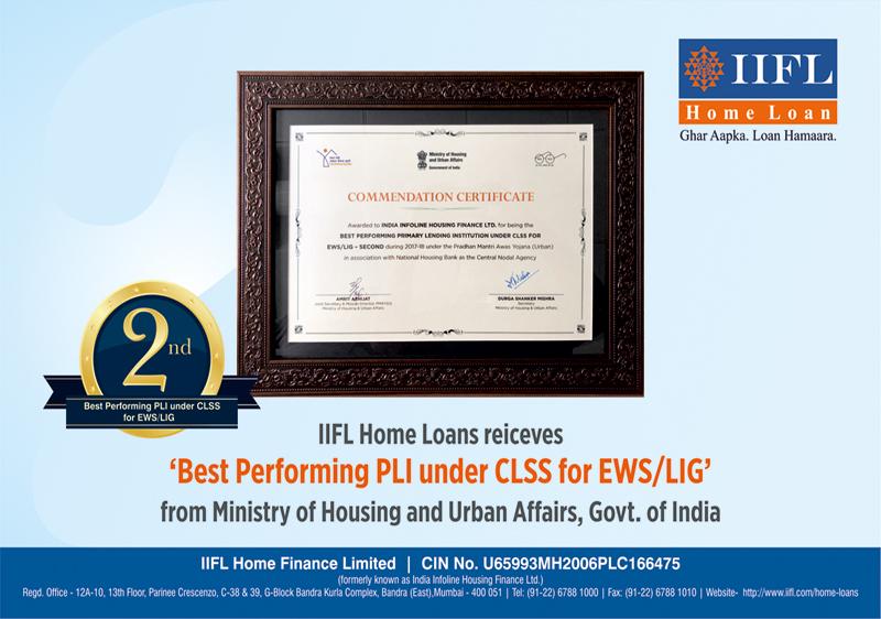 Best Performing Primary Lending Institution under CLSS for EWS/LIG - Second 2018