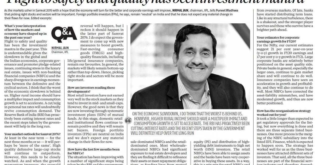 Flight to safety and quality has been investment mantra: Nirmal Jain