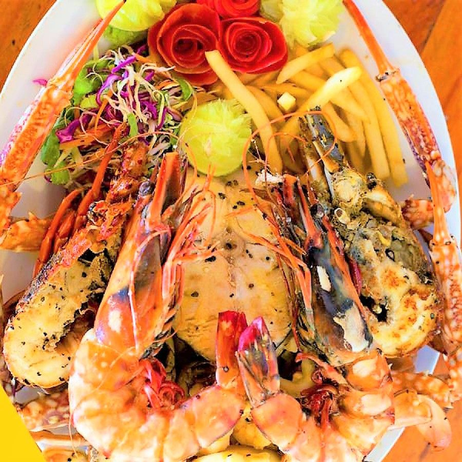 Seafood platter with lobster in Sri Lanka
