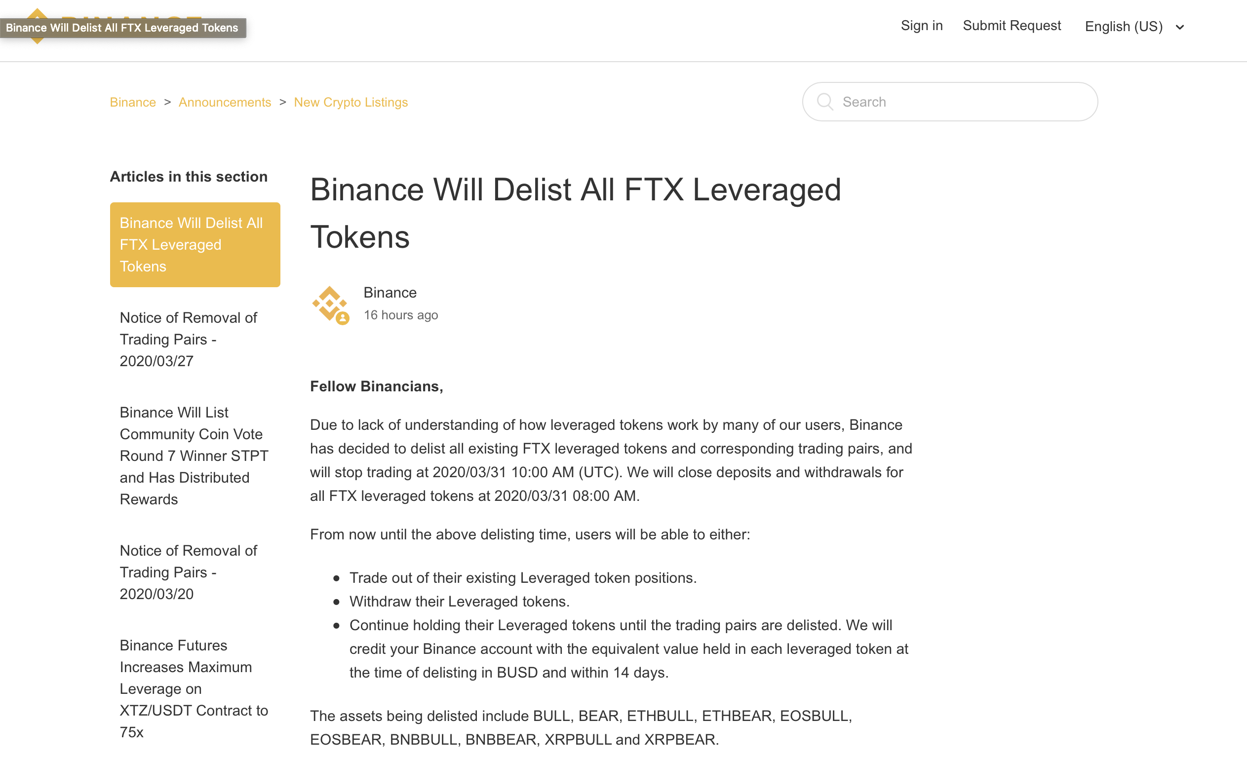 Binance Will Delist All FTX Leveraged Tokens