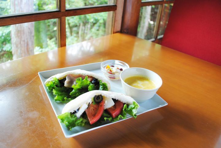 ランチには地元産の野菜を使ったサンドイッチを