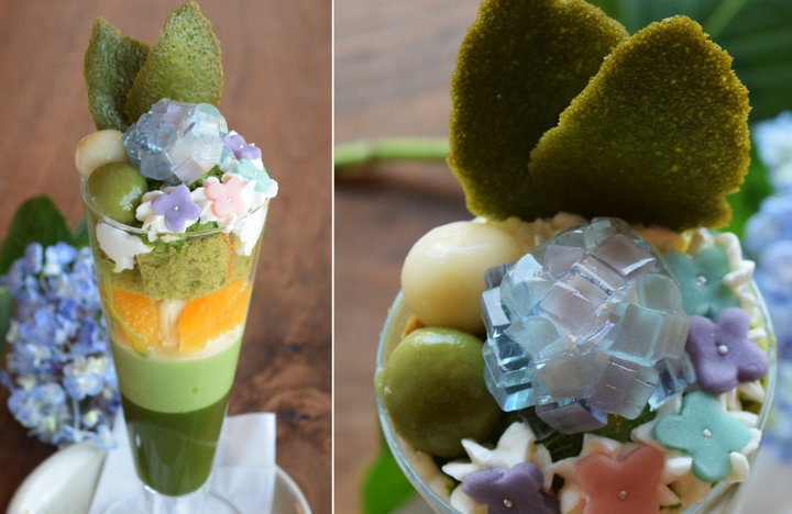 和の上生菓子と抹茶パフェがコラボした華やぎのスイーツ