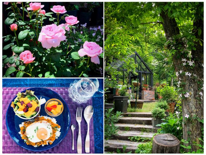 軽井沢の別荘地にある隠れ家カフェ「ハンナフラガーデンカフェ」で、バラに囲まれてゆったりとしたひと時を