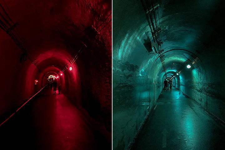 5色に光るトンネルがお出迎え