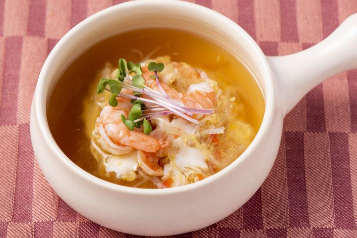 食感が楽しい「春雨茶碗蒸しスープ」