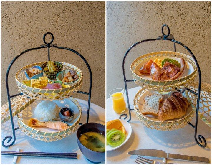 竹籠に入った和モダンな朝食