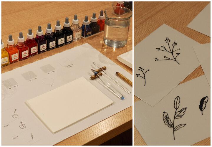 調合したインクとガラスペンで描くオリジナル便箋