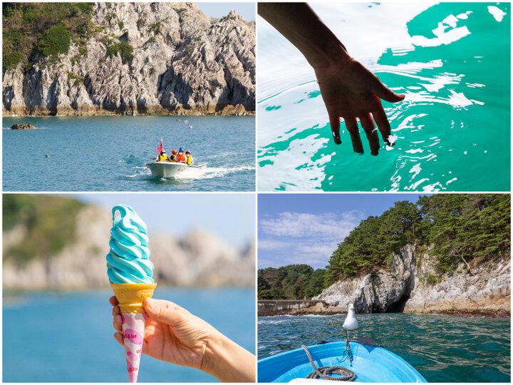 【宮古駅】浄土ヶ浜で「さっぱ舟」に乗船。ハイライトは輝く海面が美しい「青の洞窟」へ