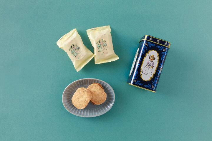 カントリーなイラスト缶入り。キャラメルクリームの焼き菓子「北のマドンナ」/北海道