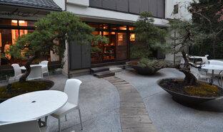 中庭を眺めながらくつろげる憩いの場