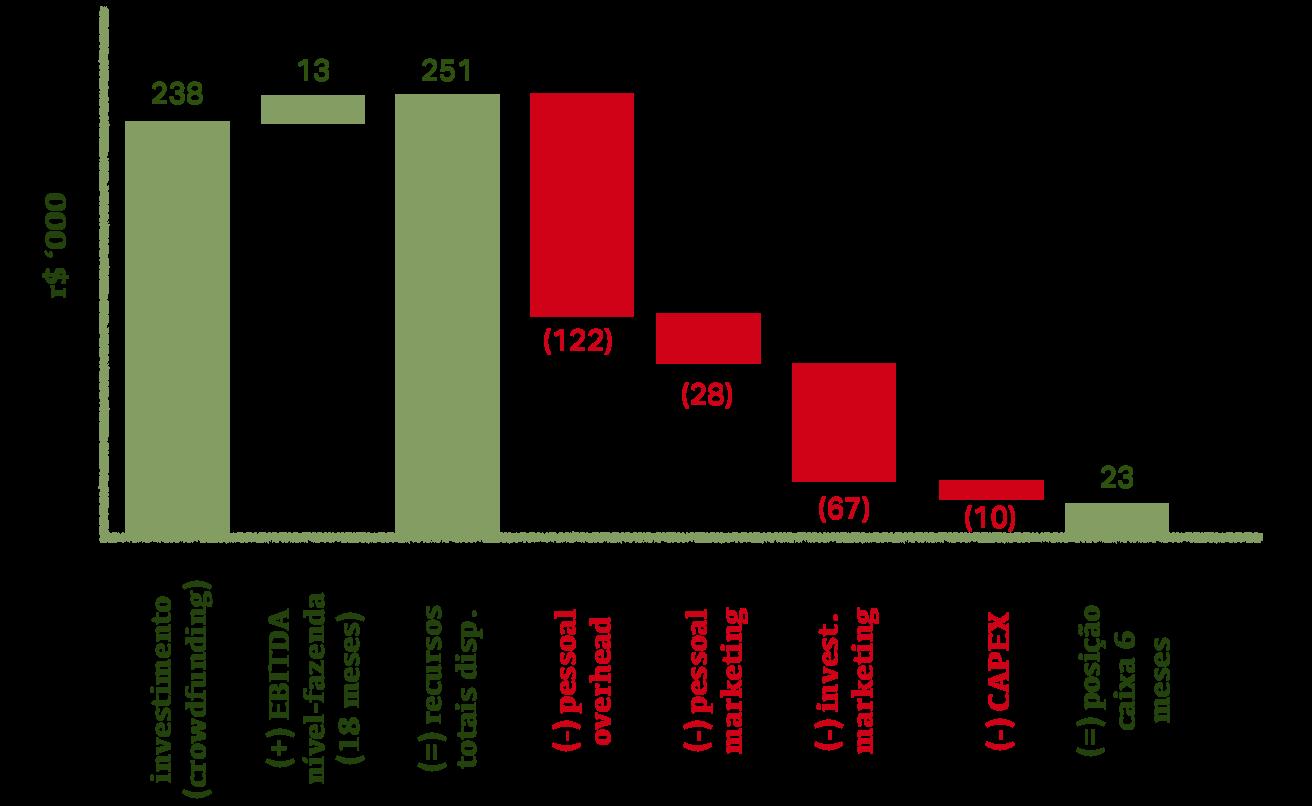 Infográfico demonstrando que os principais usos dos recursos a serem captados serão a contração de pessoas, marketing, CAPEX e capital de giro.