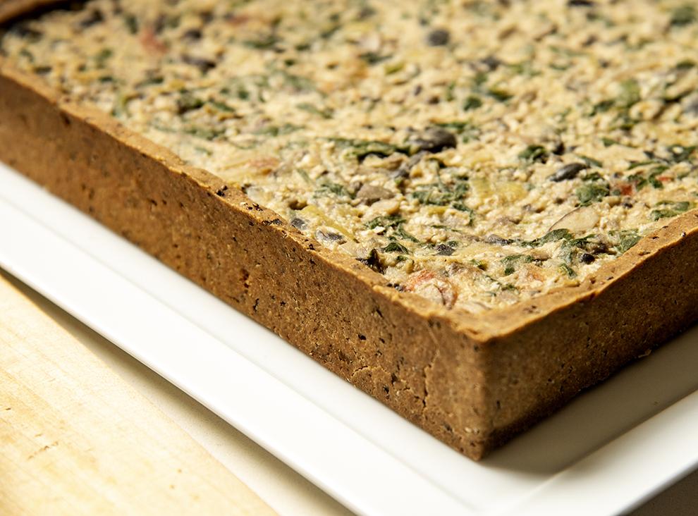 Torta de Cogumelos com Inhame na Massa de Trigo-Sarraceno