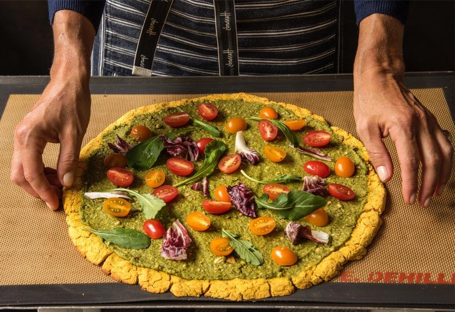 Pizza ao Pesto com Massa de Abóbora