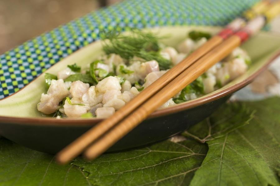 Ceviche de Prego com Shiso e Gengibre
