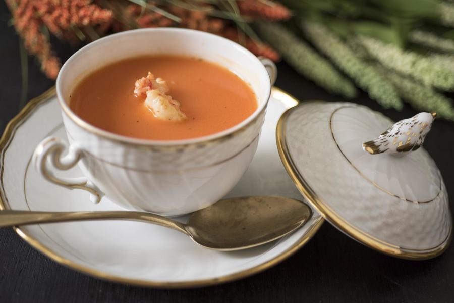 Sopa Fria de Cenoura e Gengibre com Camarão