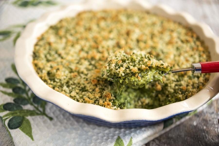 Espinafre com Crosta de Ervas