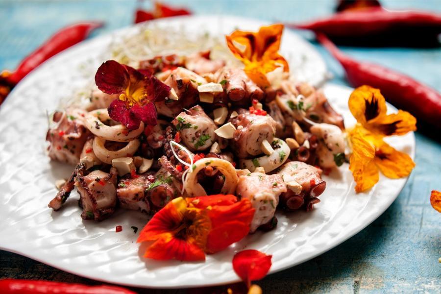 Salada Morna de Lula e Polvo