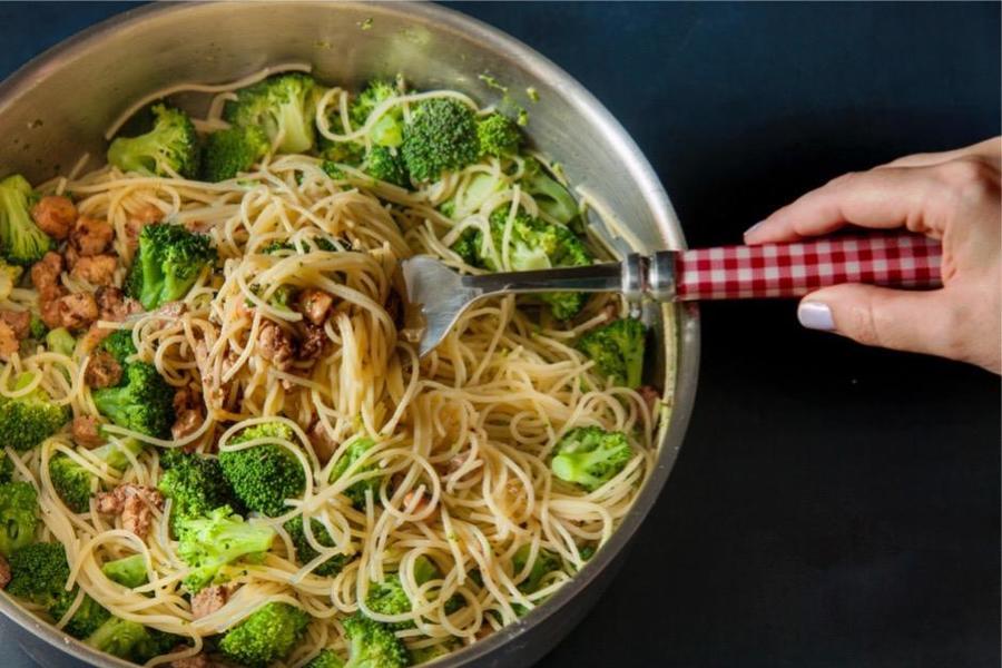 Spaghettini ai Broccoletti Verdi e Foie Gras