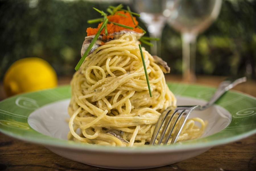 Espaguete com Sauté de Shiitake, Molho de Limão-Siciliano