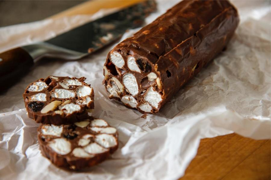 Salame de Chocolate e Marshmallow