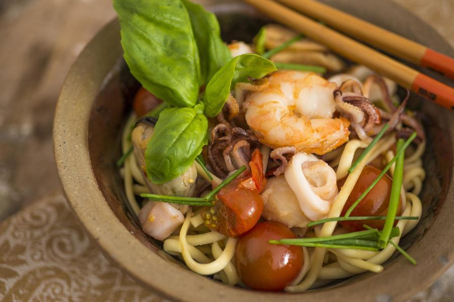 Spaguetti alla Chitarra com Frutos do Mar