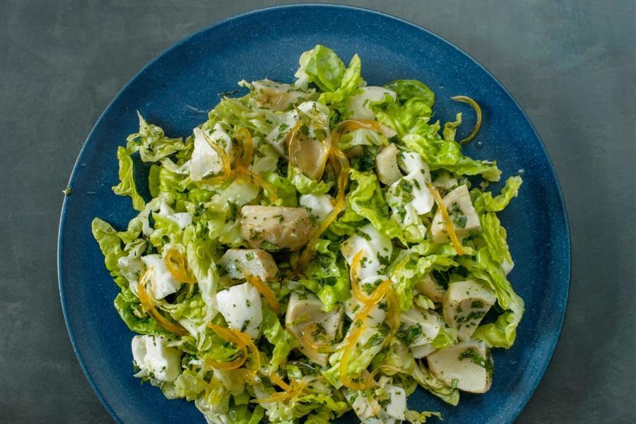Alcachofra e Mussarela com Limão-Siciliano Cristalizado