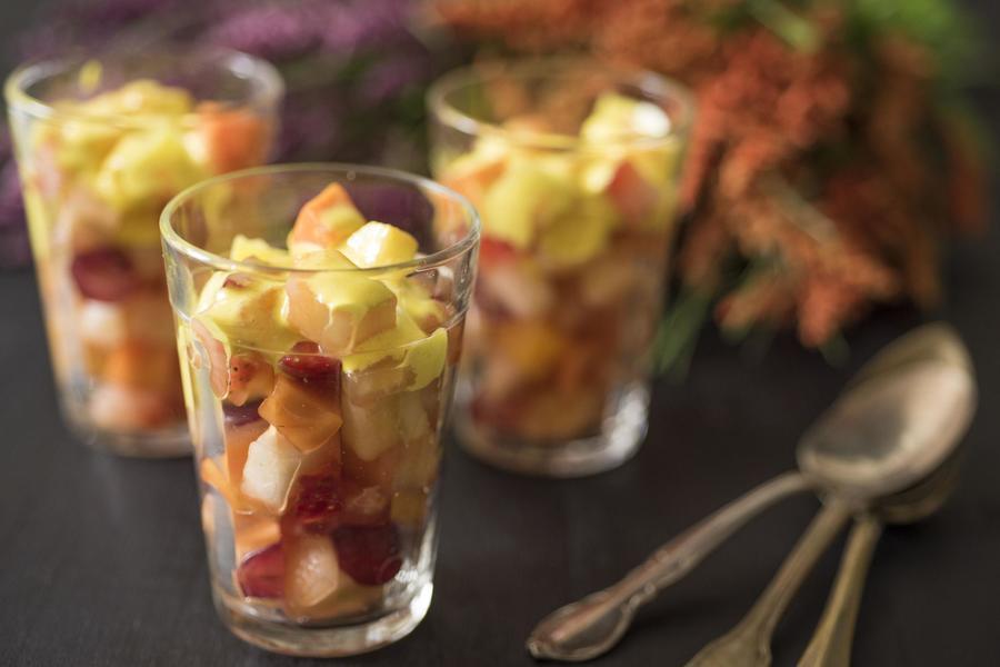 Copa de Frutas com Zabaione de Açafrão