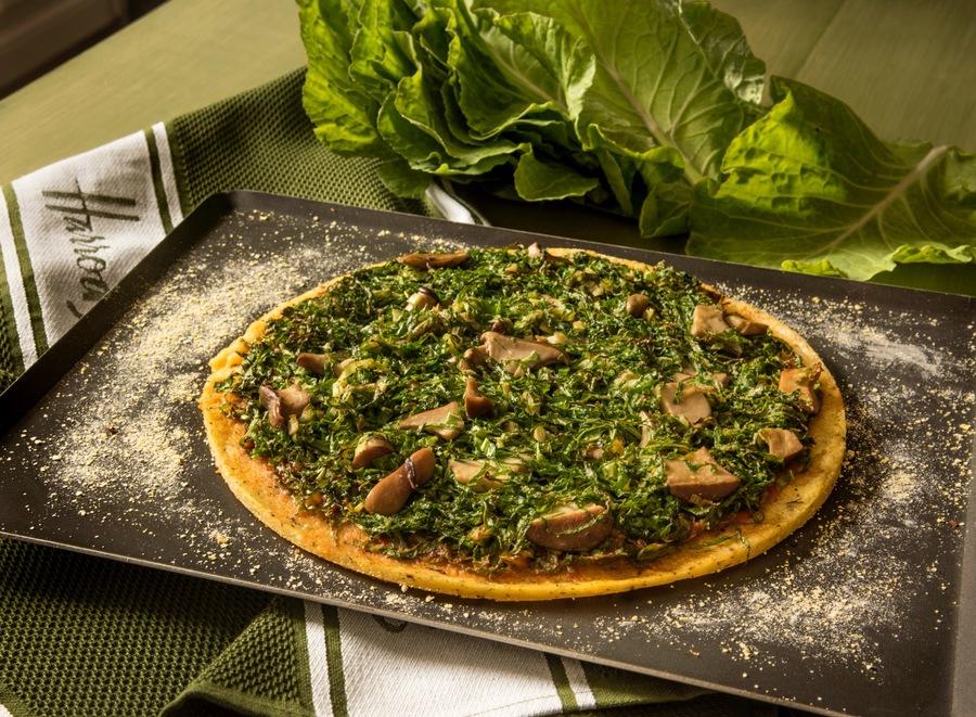 Pizza de Couve e Cogumelos