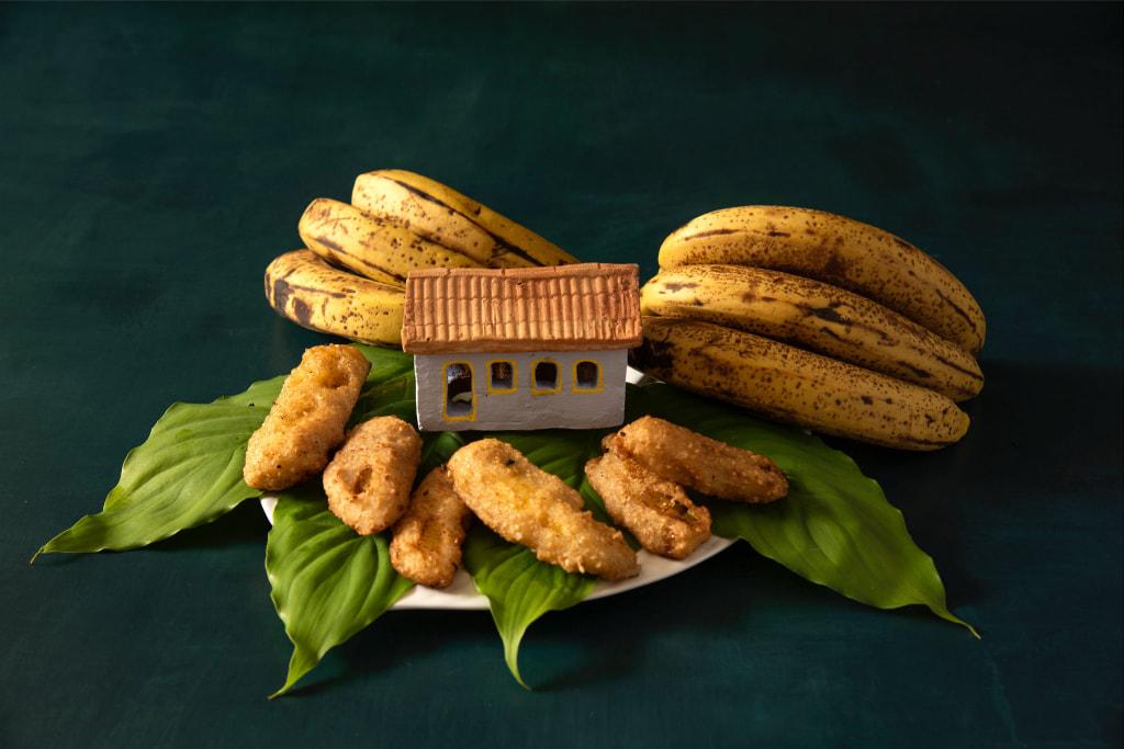 Banana Frita com Semente de Gergelim