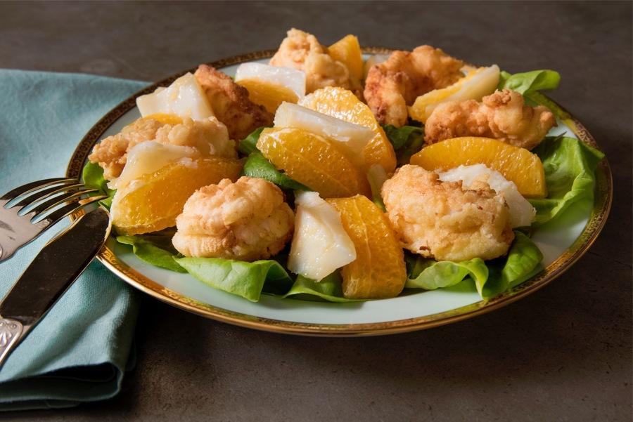 Salada de Bacalhau e Laranja-Baia com Lagostim Crocante