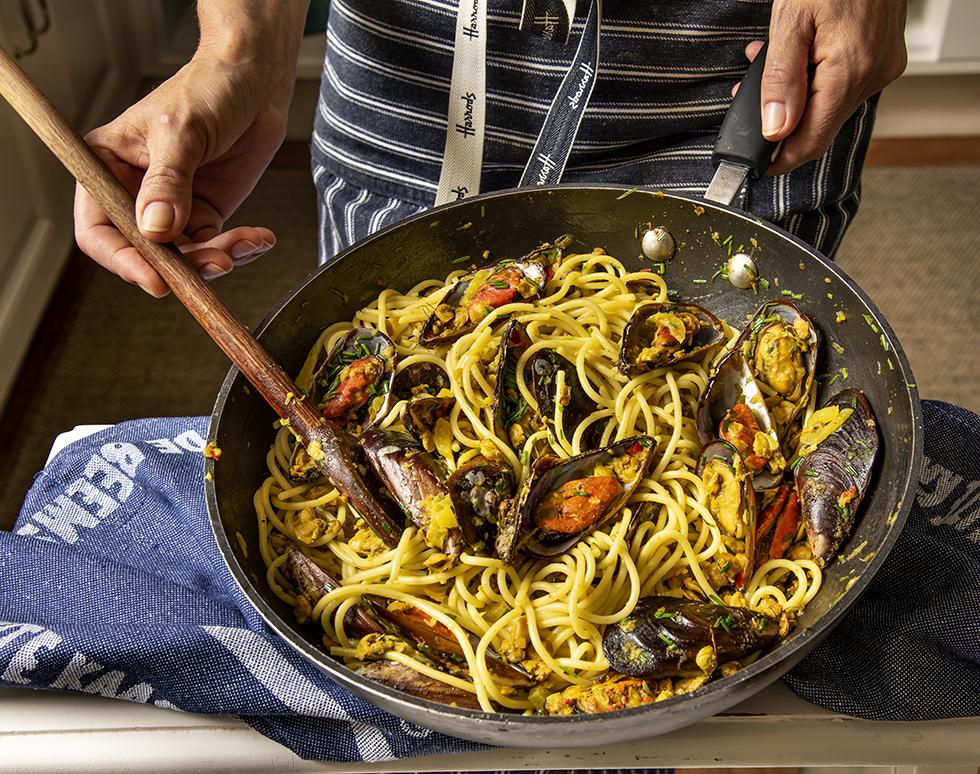 Espaguete com Vôngole e Marisco, Açafrão e Aroma de Erva-Doce