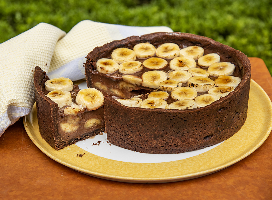 Torta de Chocolate com Banana Caramelizada