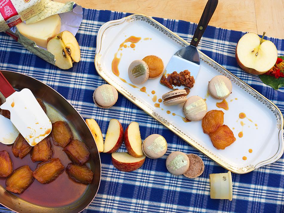 Macaron com Recheio Tarte Tatin (Maçã e Baunilha)