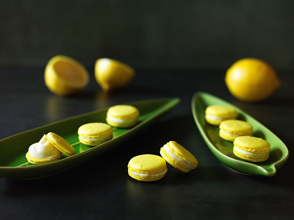 Macaron com Recheio de Chocolate Branco e Limão-Siciliano
