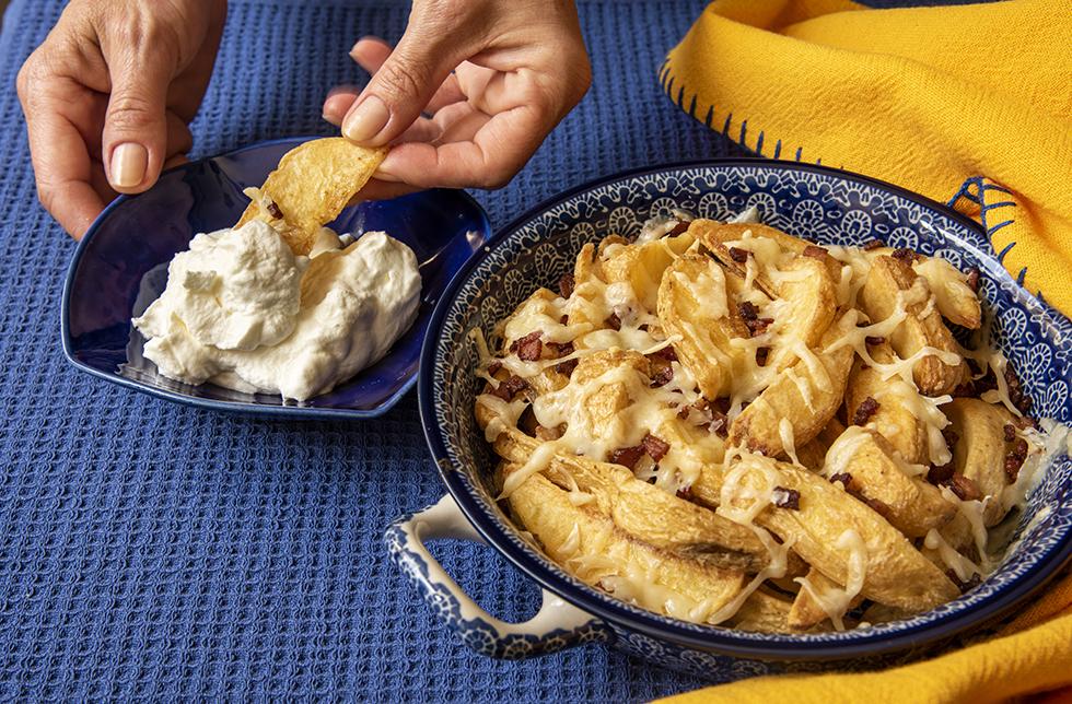 Batata Rústica com Bacon e Gruyère