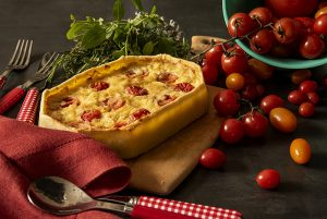 Quiche de Queijo, Alho-Poró e Tomate