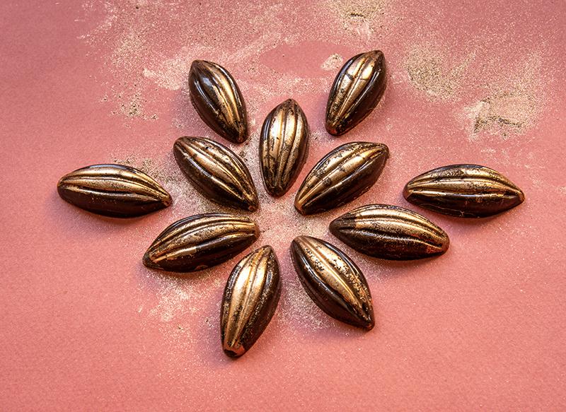 Bombom de Chocolate Meio Amargo com Recheio de Ganache de Framboesa com um Toque de Vinho do Porto
