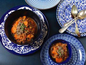 Cozido de Carne Moída com Legumes e Pesto Nero