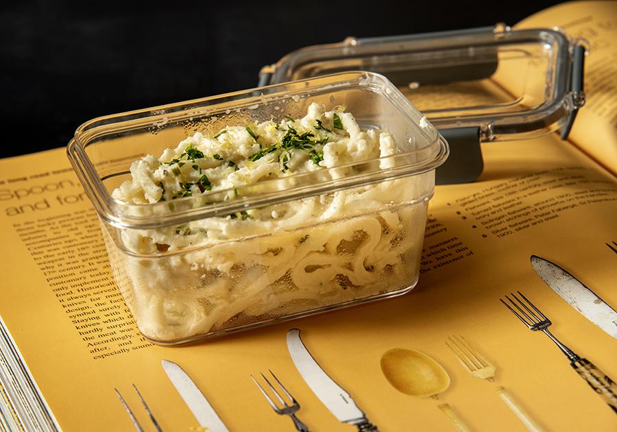 Espaguete de Pupunha ao Molho de Limão-Siciliano e Castanha