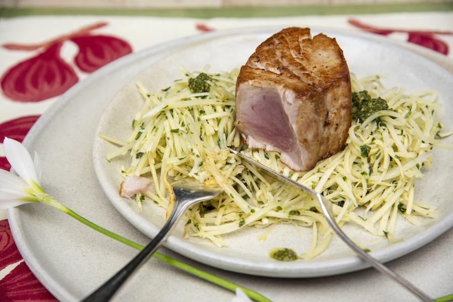 Espaguete de Pupunha com Peixe