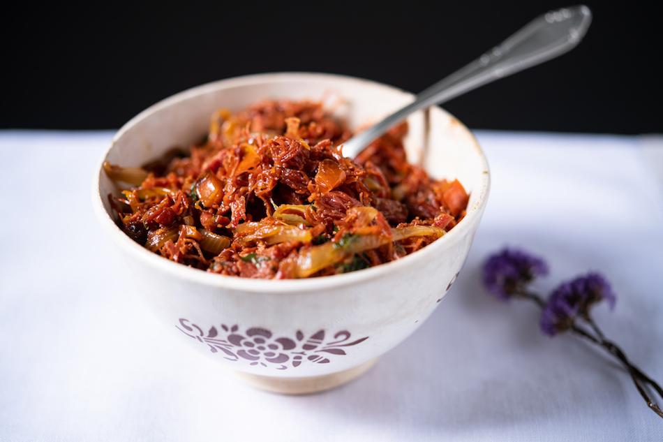 Recheio de Carne-Seca com Cebola, Tomate e Pimentão