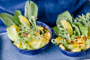 Salada de Folhas Verdes com Vinagrete de Laranja e Granola Salgada de Sementes